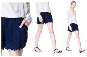 Zara, shorts bordo ricamato
