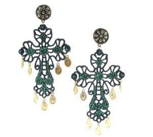 Pepitosa orecchini croce verde