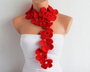 DaWanda collana lana rossa