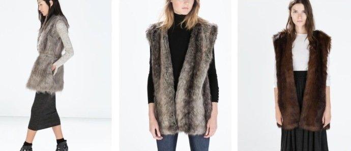 Tendenze autunno inverno 2015 Gilet pelliccia Zara 59 euro