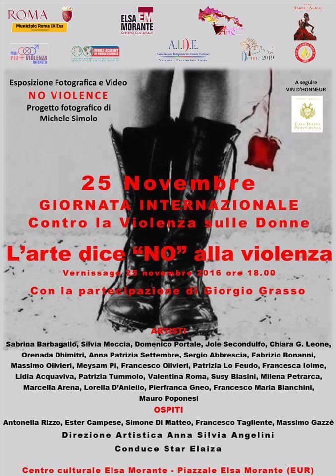 """""""L'arte dice no alla violenza"""" per la giornata contro la violenza di genere"""