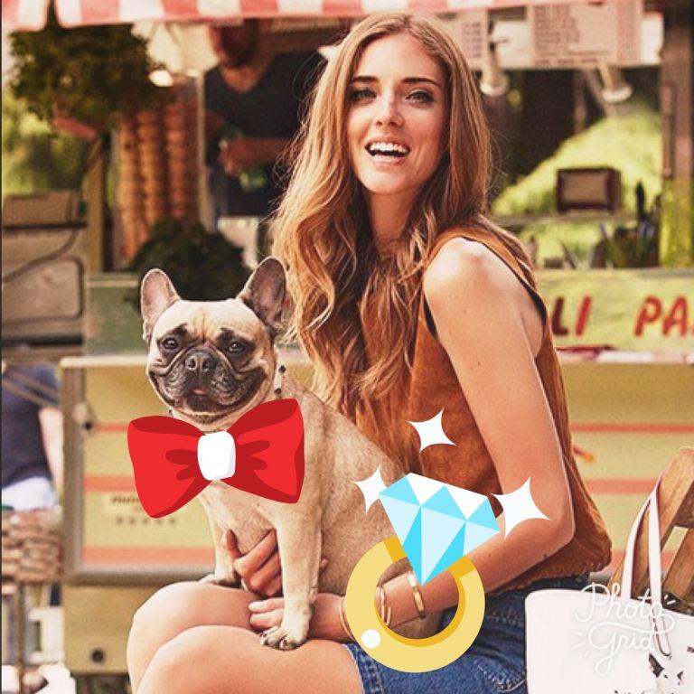 chiara ferragni e il cane con il papillon di Vuitton