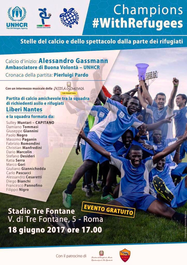 Champions #withrefugees roma 18 giugno