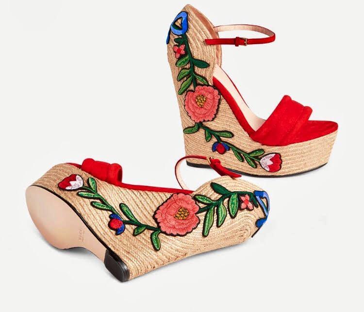 tendenza scarpe estate 2017 espadrillas espadrilles gucci zeppa ricamate