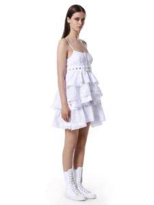 tendenze estate 2017 total white vestito balze bianco Diesel