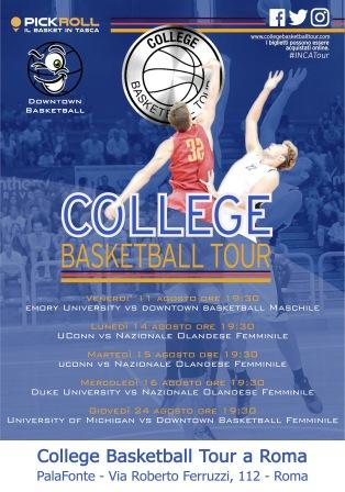 college basketball tour roma locandina programma
