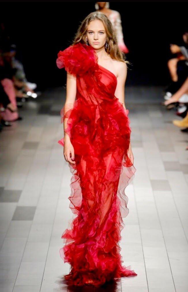 fashion week new york sfilata Marchesa abito rosso