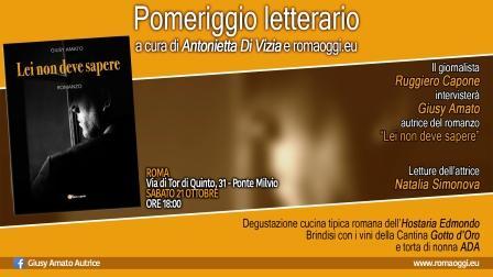 """presentazione libro giusy amato """"Lei non deve sapere"""" sabato 21 ottobre"""