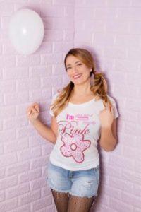 I'm Pink Elenia Scarsella Colors t shirt donna rosa sorriso
