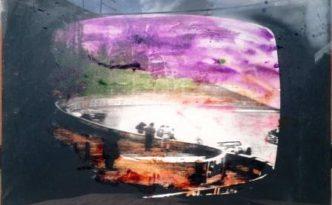 un po' pop Mario Schifano Ore 22 notizie, smalto su tela emulsionata, 1972, cm 80x110
