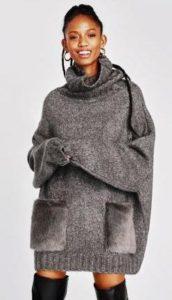maglioni 2018 zara maglione grigio con tasche di pelo