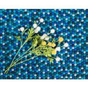 tappeti sukhy palline di feltro rettangolare blu
