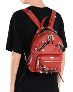 zaino zainetto back pack moschino pelle rosso spille