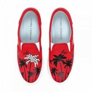sneakers slip-on chiara ferragni rosse palme con cristalli