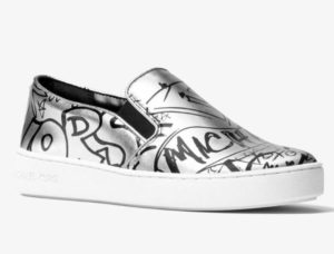 sneakers slip-on micheal kors metallizzate graffiti argento