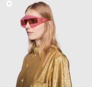 occhiali sunglasses gucci collezione Hollywood Forever cristalli rossi