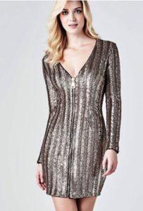 saldi invernali 2019 vestito zip guess paillettes