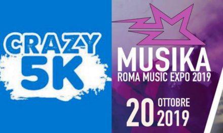 Musika e Crazy5k per il weekend romano