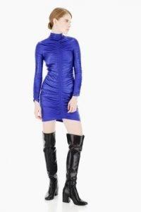 capodanno 2020 imperial fashion abito blu elettrico metallizzato stretch