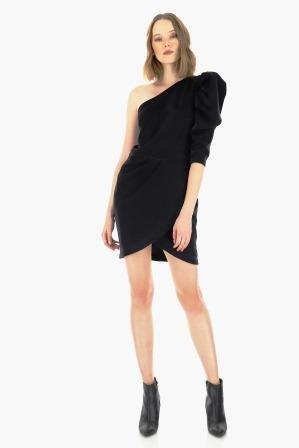 capodanno 2020 imperial fashion abito nero monospalla sbuffo