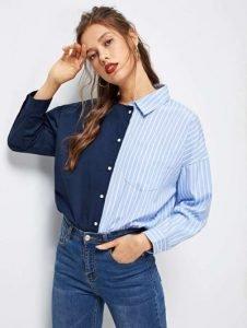 Camicia due colori Shein