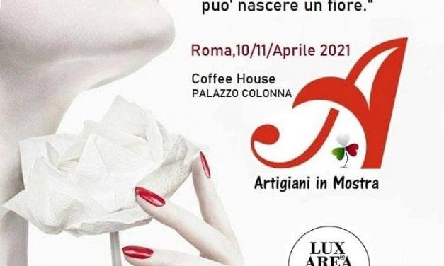 """Lux Area Center """"Artigiani in mostra"""" nella Coffee House di Palazzo Colonna il 10 e 11 aprile 2021"""